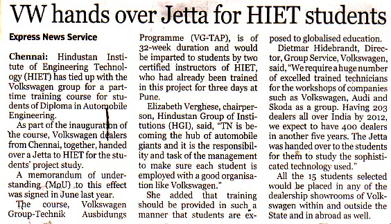 VW Hands Over Jetta For HIET Students