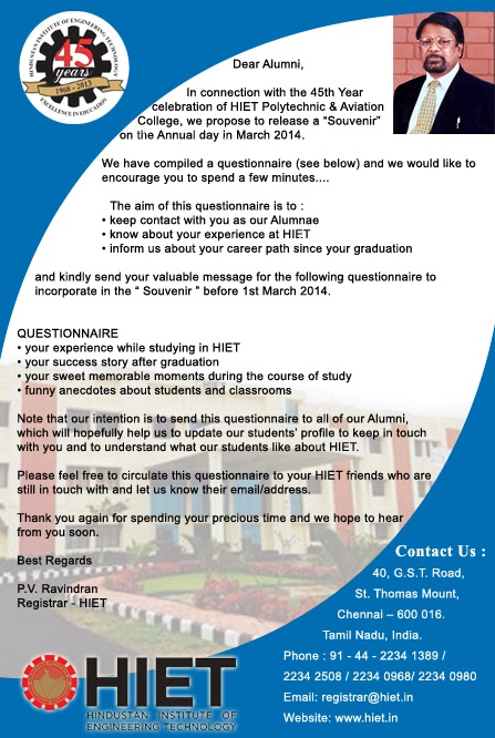 Dear Alumni,In Connection With The 45th Year Celebration Of HIET Polytechnic & Aviation Colleges