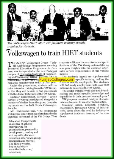 5567184 Volkswagen To Train HIET Students Chennai